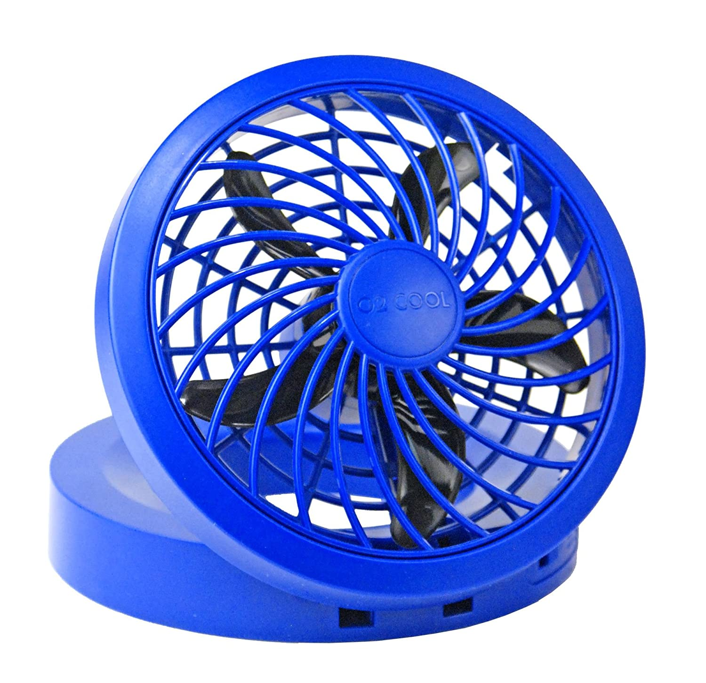 "O2COOL 5"" Portable USB or Electric Fan, Blue"