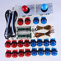 Reyann LED Arcade DIY-Teile 2x Nullverzögerungs USB Encoder + 2x 8 Wege Joystick + 20x LED-Leuchttaster für Mame Arcade Projekt Rot + Blau-Kits