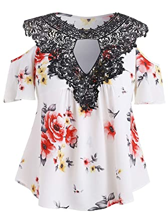 bf6625208f8e42 RoseGal Plus Size Top Floral Flare Sleeve Casual T Shirt Cold Shoulder  Blouse for Women (