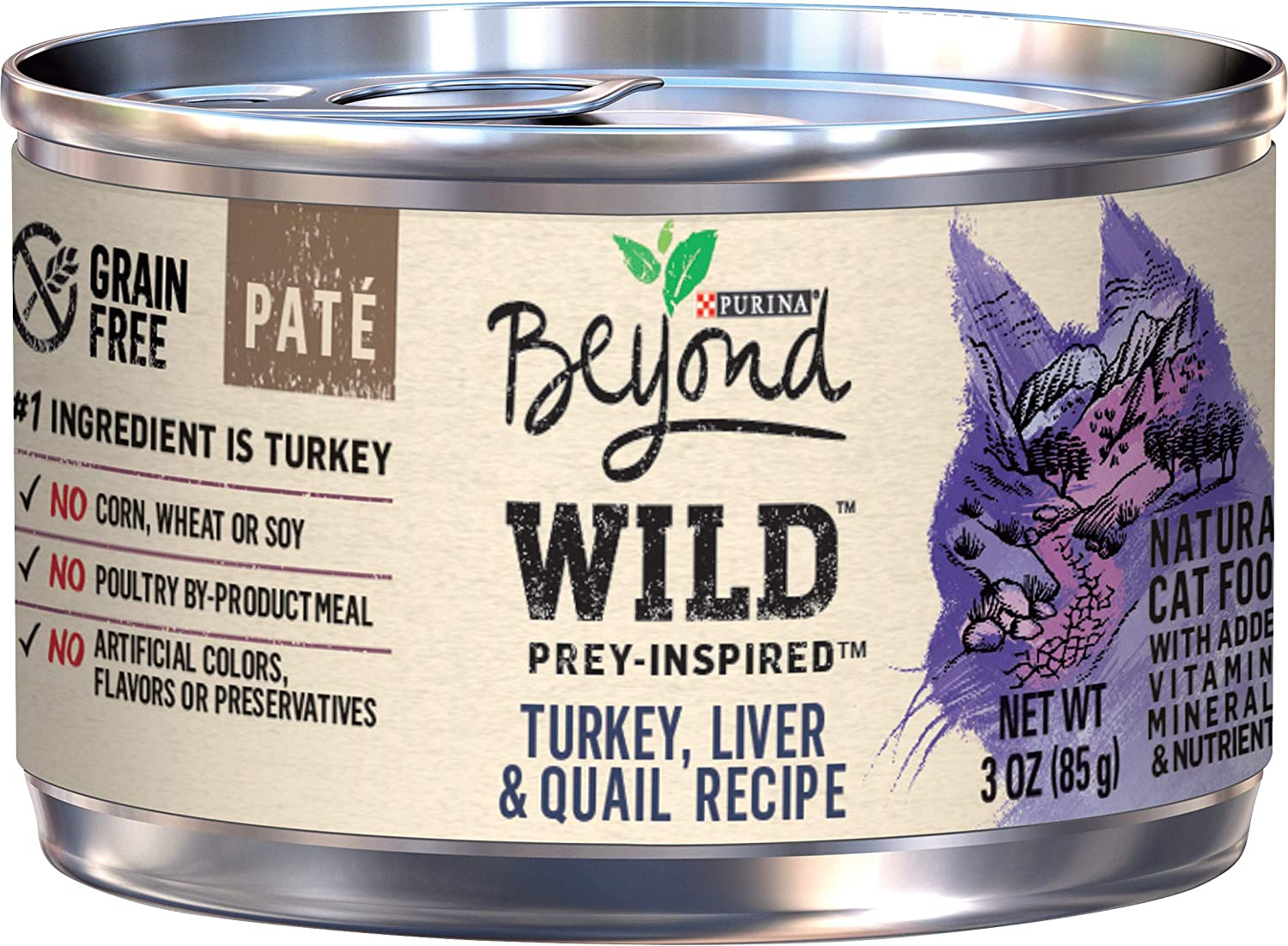 Purina Beyond Grain Free, Natural, High Protein Pate Wet Cat Food, WILD Turkey, Liver & Quail - (12) 3 oz. Cans