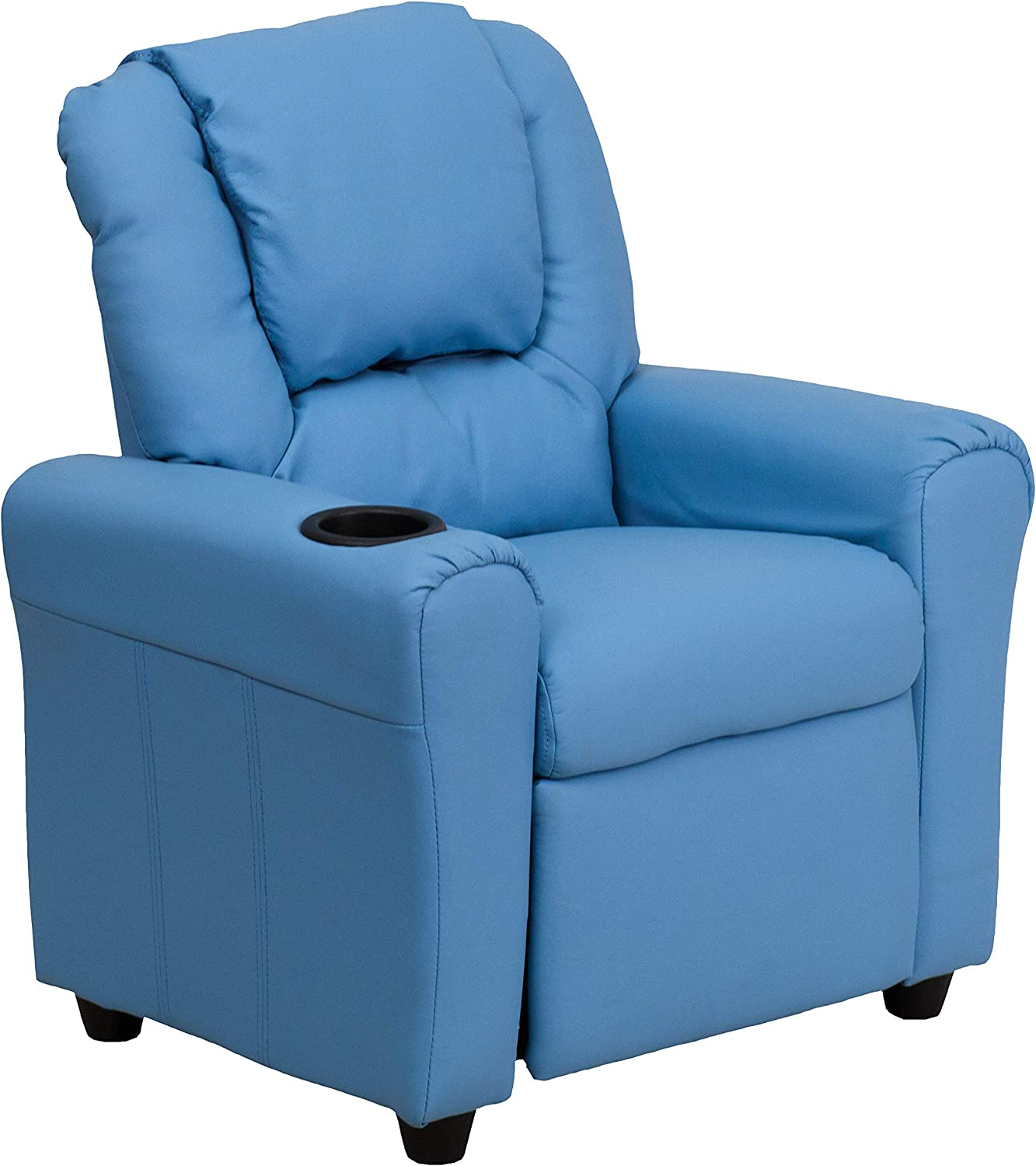 Flash Furniture Contemporary Light Blue Vinyl Kids Recliner with Cup Holder and Headrest