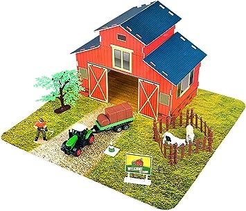 Set fattoria giocattolo con trattore in metallo e animali della