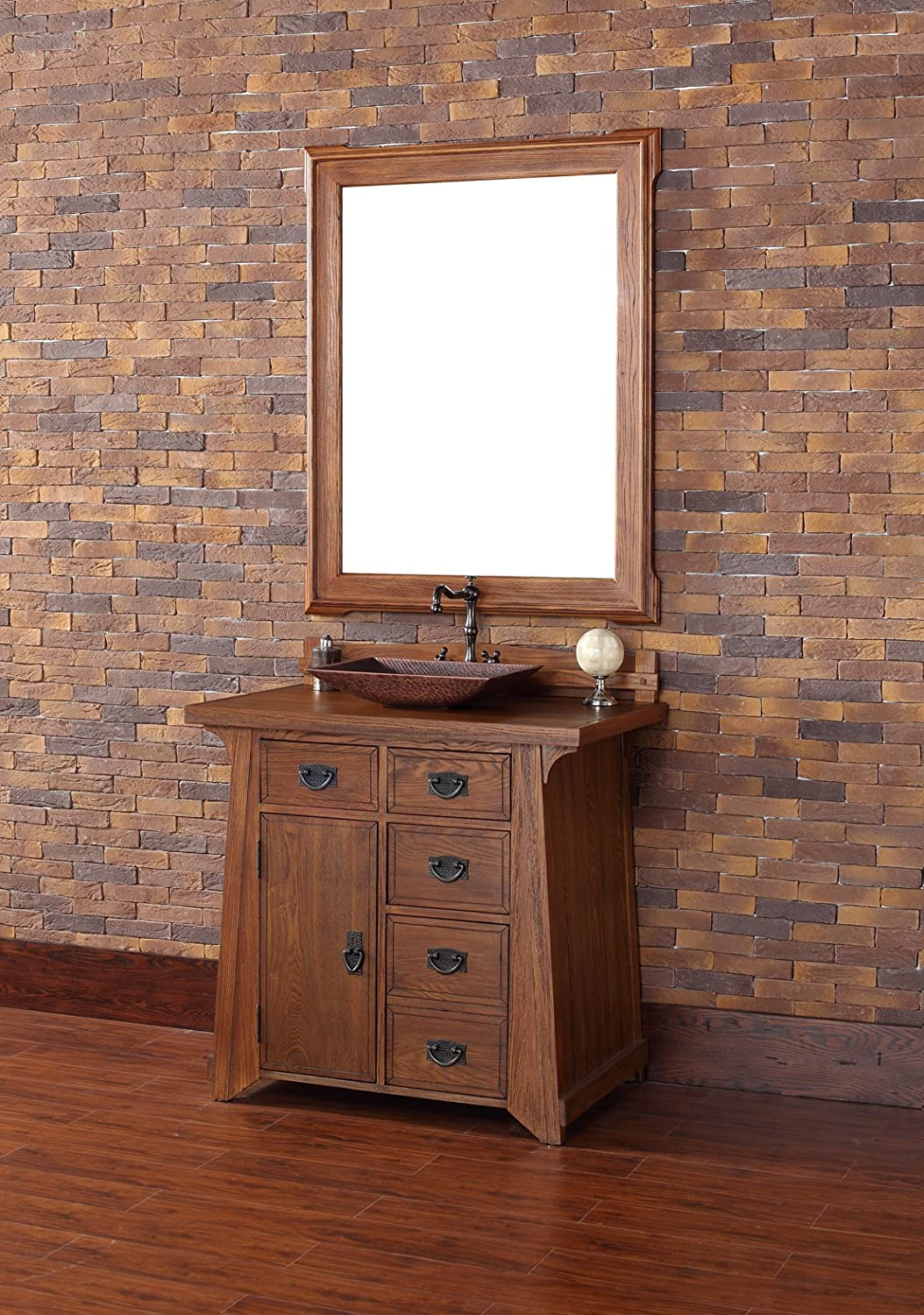 Single Vanity in Antique Oak Finish - - Amazon.com - 36 In. Single Vanity In Antique Oak Finish - - Amazon.com