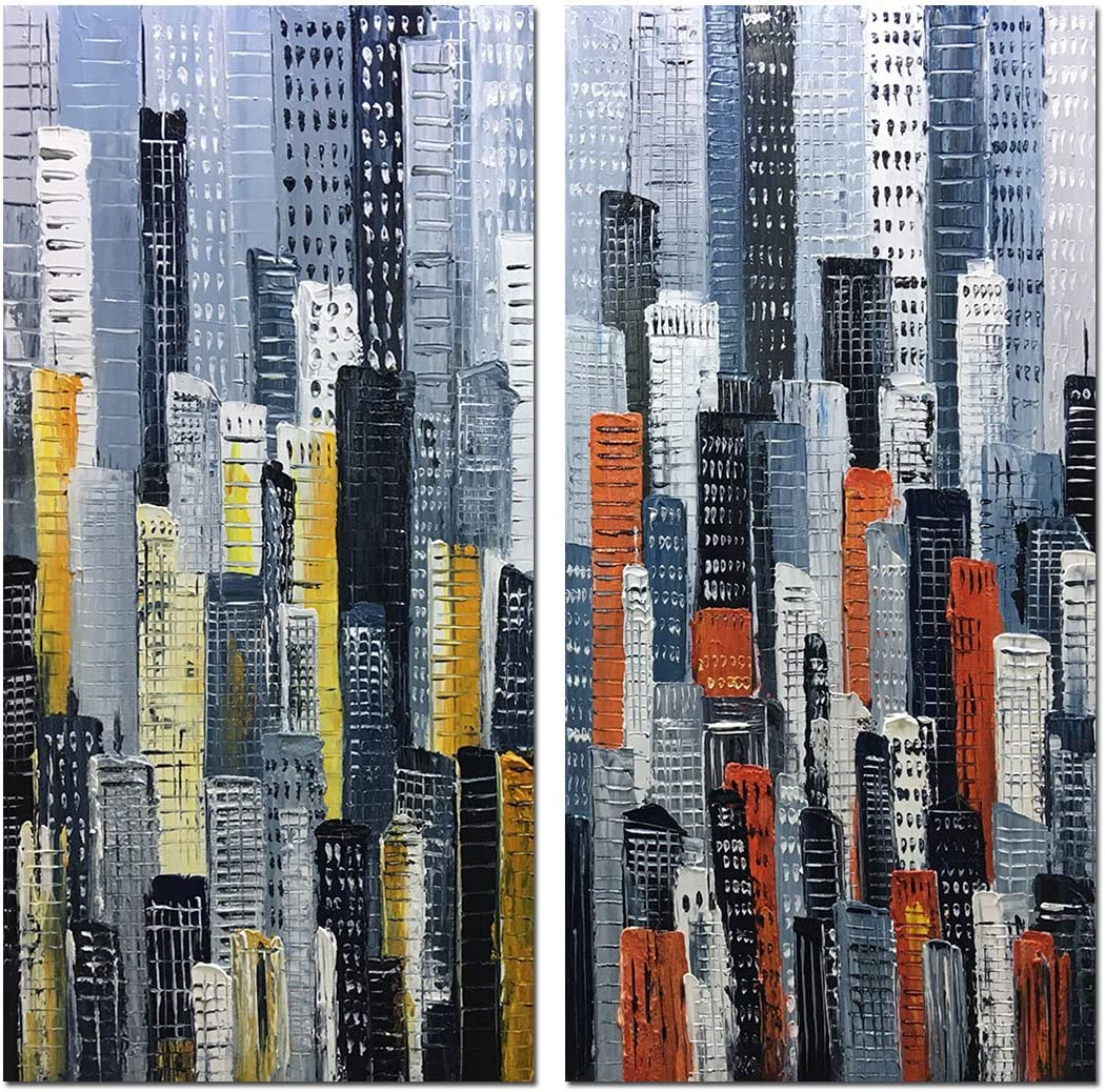 Yotree Paintings, 32×32 Inch Paintings Oil Hand Painting Urban Landscape 3D Hand-Painted On Canvas Abstract Artwork Art Wood Inside Framed Hanging Wall Decoration Abstract Painting