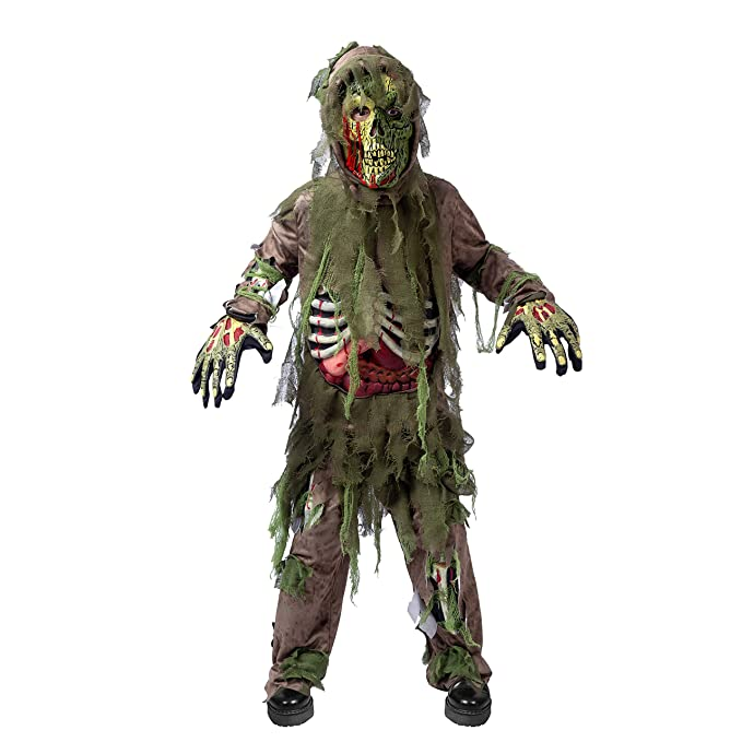 Swamp Deluxe Skeleton Living Dead Zombie Costume for Halloween Kids Monster  Role,Playing