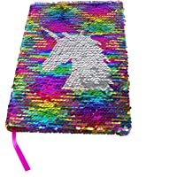 Poitemsic Unicorn Girls Sequin Notebook Rainbow To Silver Reverse Sequins Journal For Children Diaries School Supplies - 160 Pages