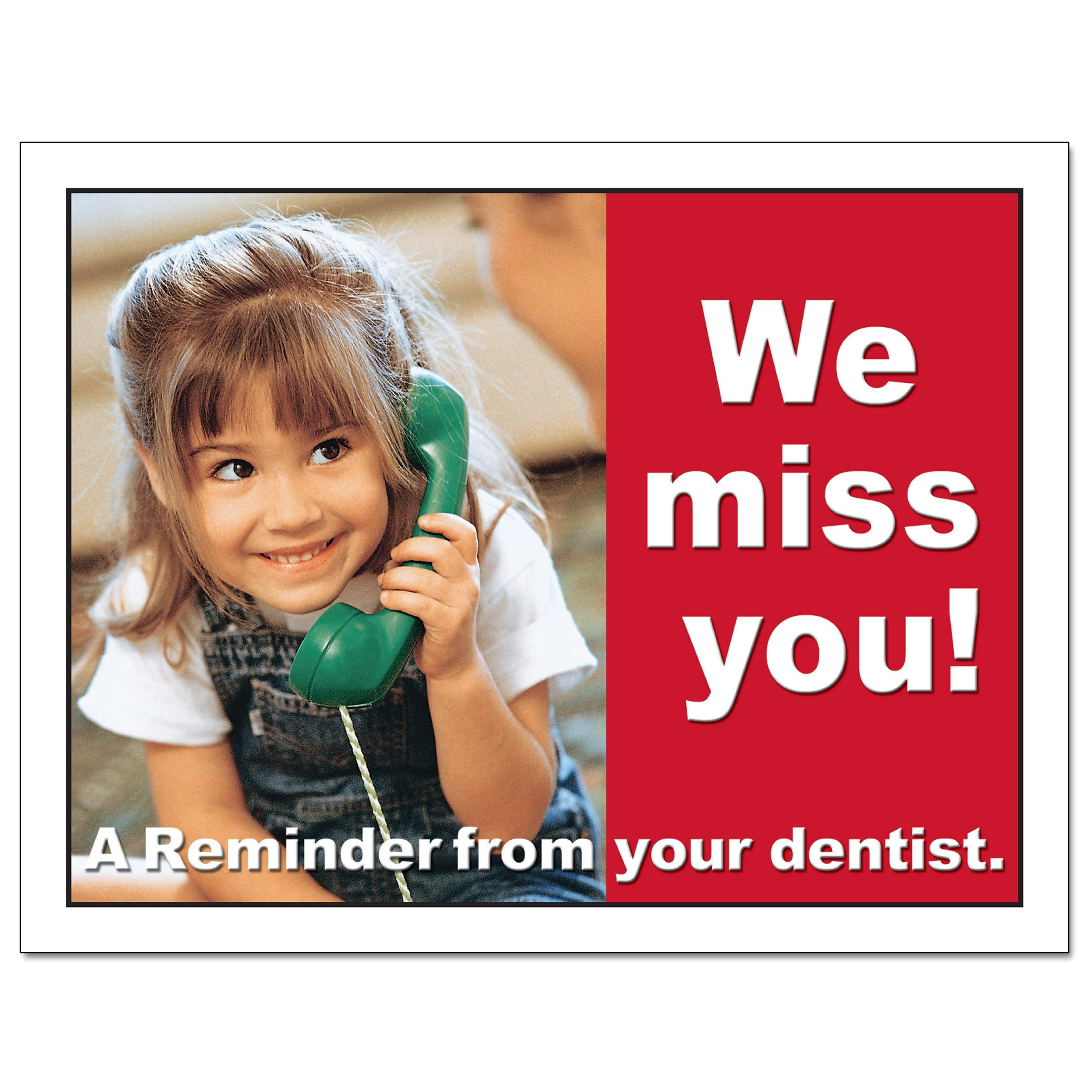 Laser Reminder Postcards, Dental Appointment Reminder Postcards. 4 Cards Perforated for Tear-Off at 4.25'' x 5.5'' on an 8.5'' x 11'' Sheet of 8 Pt Card Stock. DEN103-LZS (1000) by Custom Recall (Image #3)