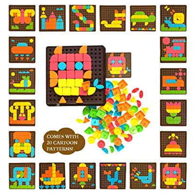 Pattern Blocks Geometric Shapes Puzzles for Kids Ages 3-5 Matching Game Button Art Educational Toys Toddlers Puzzles Brain Teasers Preschool Toys Learning Game Fine Motor Skills Stem Toy Kids Puzzles: Toys & Games