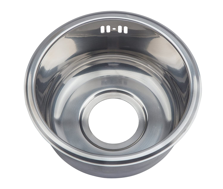 Petite ronde seul é vier de cuisine en acier inoxydable 25 cm, bateau, caravane (M12) GTDE