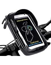 LEMEGO Bolsa Bicicleta Manillar para Ciclista Ciclismo, Bolso de Bici Impermeables Soporte Móvil teléfono para teléfonos móviles Inferior de 6 Inches