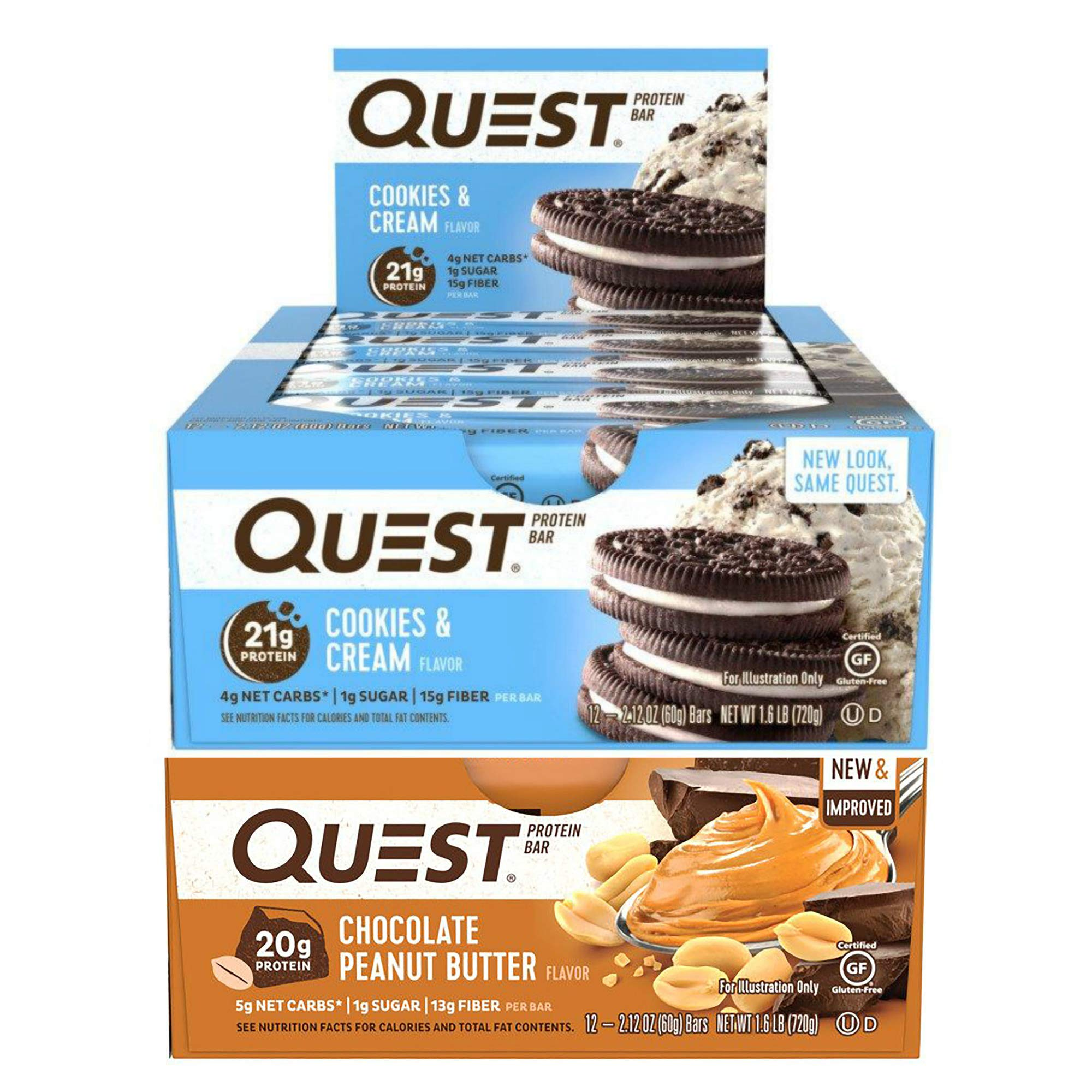 Quest Nutrition Protein Bar PB Cookie Mix-Up (Cookies + Cream and Chocolate Peanut Butter). Low Carb Meal Replacement Bar w/ 20g+ Protein. High Fiber, Soy-Free, Gluten-Free (24 Count)
