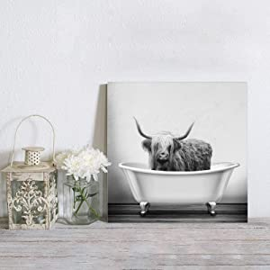 MuswannaA Canvas Print Wall Art Farmhouse Animal Highland Cow in Bathtub Bubble Funny Cattle Paintings Print on Canvas with Wooden Inner Frame Wall Art Canvas Print for Bathroom Wall Decor