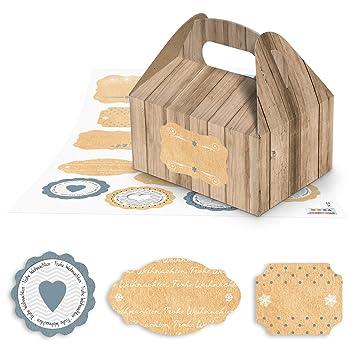 17 pequeñas cajas de regalo en madera marrón aspecto de Como del paquete en Navidad (
