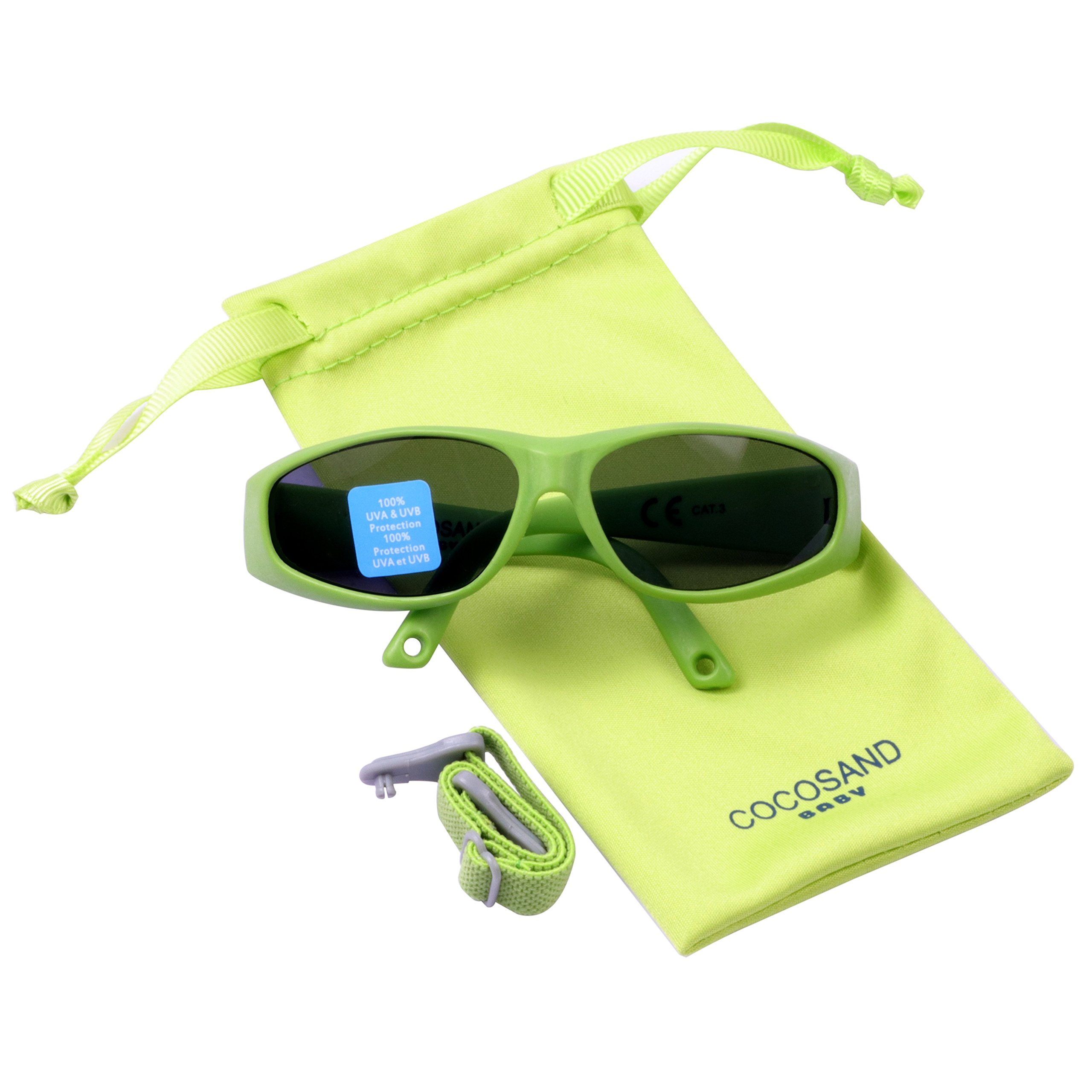 Gift Set Baby Shades with TPE FRAME & UV400 LENS & Adjustable Neoprene Straps Age: 0-12months.(Green)