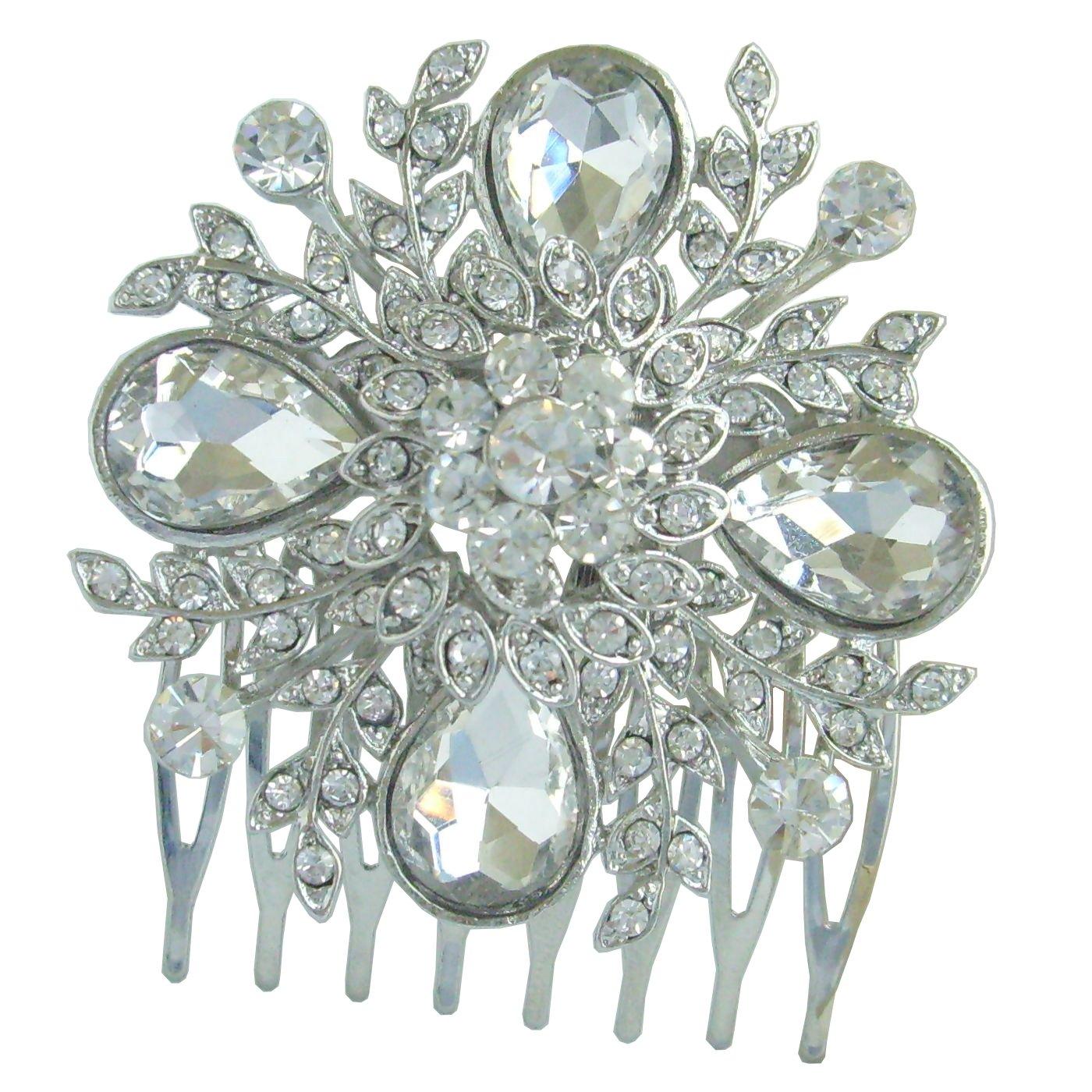 Sindary 1.97'' Silver Tone Wedding Flower Hair Comb Clear Rhinestone Crystal Bridal Jewelry HZ5828