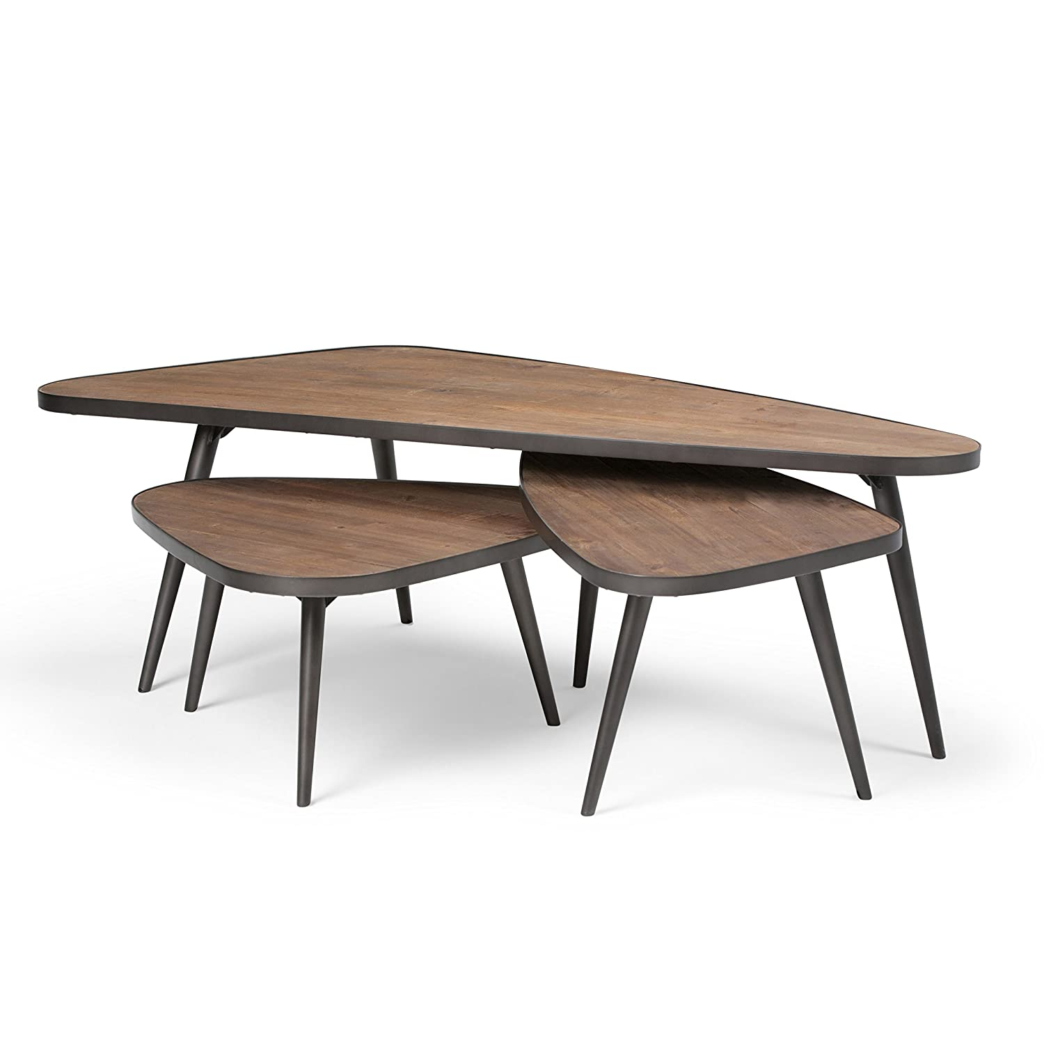 b86029631b55 Amazon.com  Simpli Home AXCABY-01 Aubrey 3 Pc Nesting Coffee Table Set in  Distressed Wood  Kitchen   Dining
