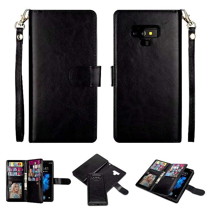 best website f018c fc9d6 Case for Galaxy Note 9 [2 in 1] Samsung Galaxy Note 9 Wallet Case  [Detachable Folio] [Vegan Leather] [Wrist Strap] [Card Slot] [Kickstand]  Note 9 Flip ...