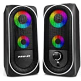 Computer Speakers, 2.0 Stereo Volume Control with RGB Light USB Powered Gaming Speakers for PC/Laptops/Desktops/Phone/Ipad/Ga