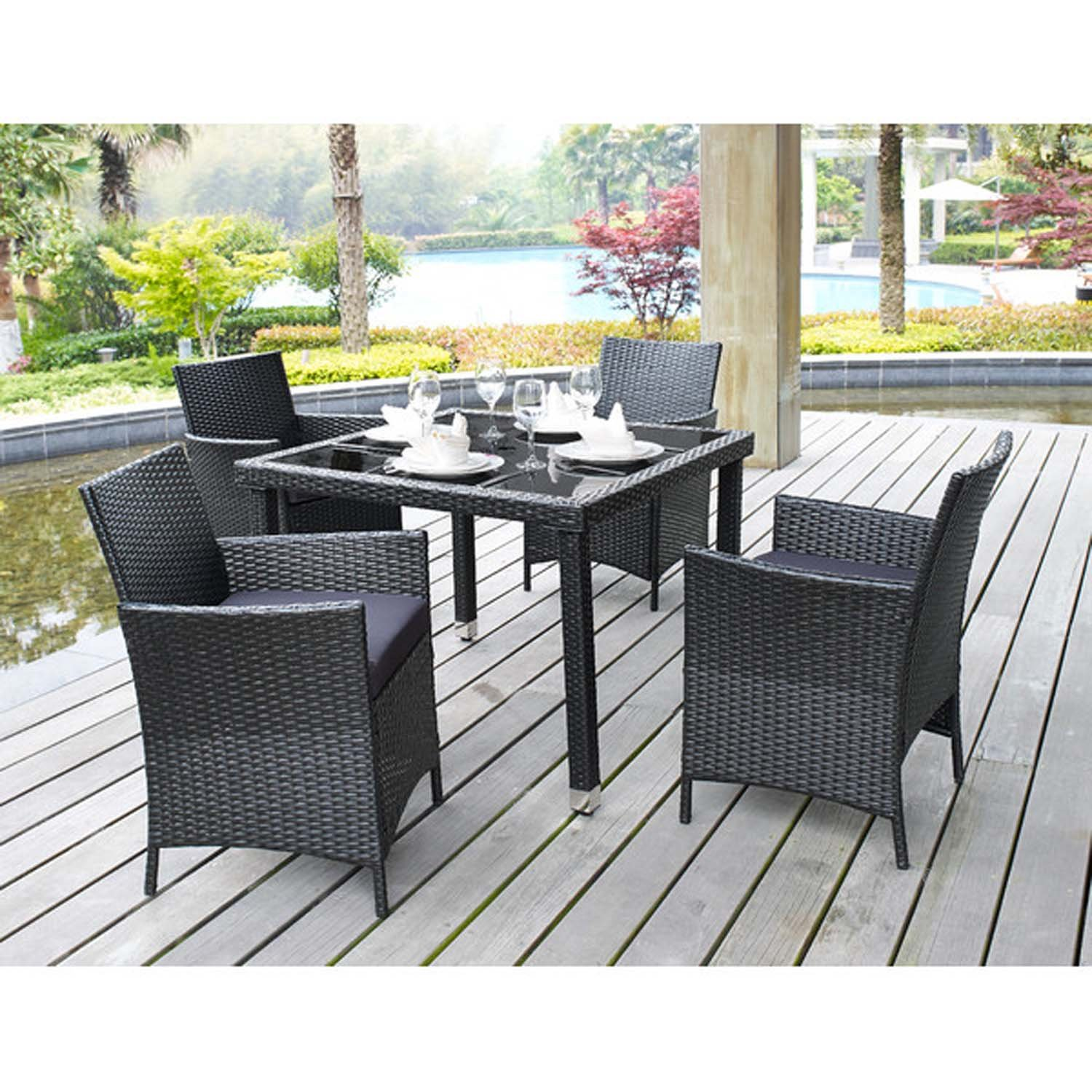 Amazon.com : 5 Piece Outdoor Patio Dining Set With Cushions   UV Weather  Resistant Rattan Wicker Heavy Duty Steel Powder Coated Furniture    Rectangular ...