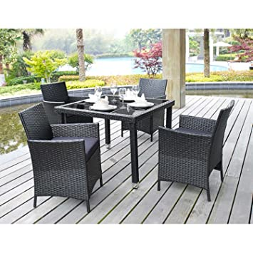 5 Piece Outdoor Patio Dining Set With Cushions U2013 UV Weather Resistant  Rattan Wicker Heavy Duty