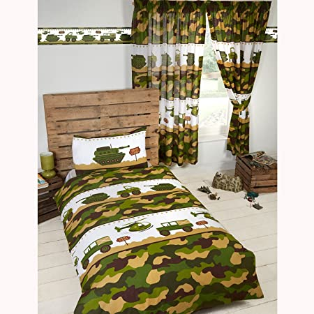 Price Right Home Armée Camp Camouflage Junior Housse de Couette et taie d'Oreiller Set
