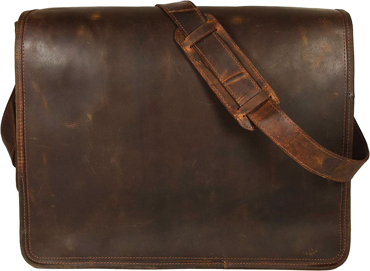 """KK's Leather hunter Leather Bags 18"""" Inch Leather Bags genuine leather bags Laptop Messenger Bags Vintage Brown Bags full flap bags Briefcase bags everyday bags weekend bags for men and women"""