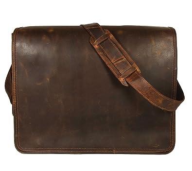 Amazon.com: KKs Leather Bolsa de cuero de 18 pulgadas ...