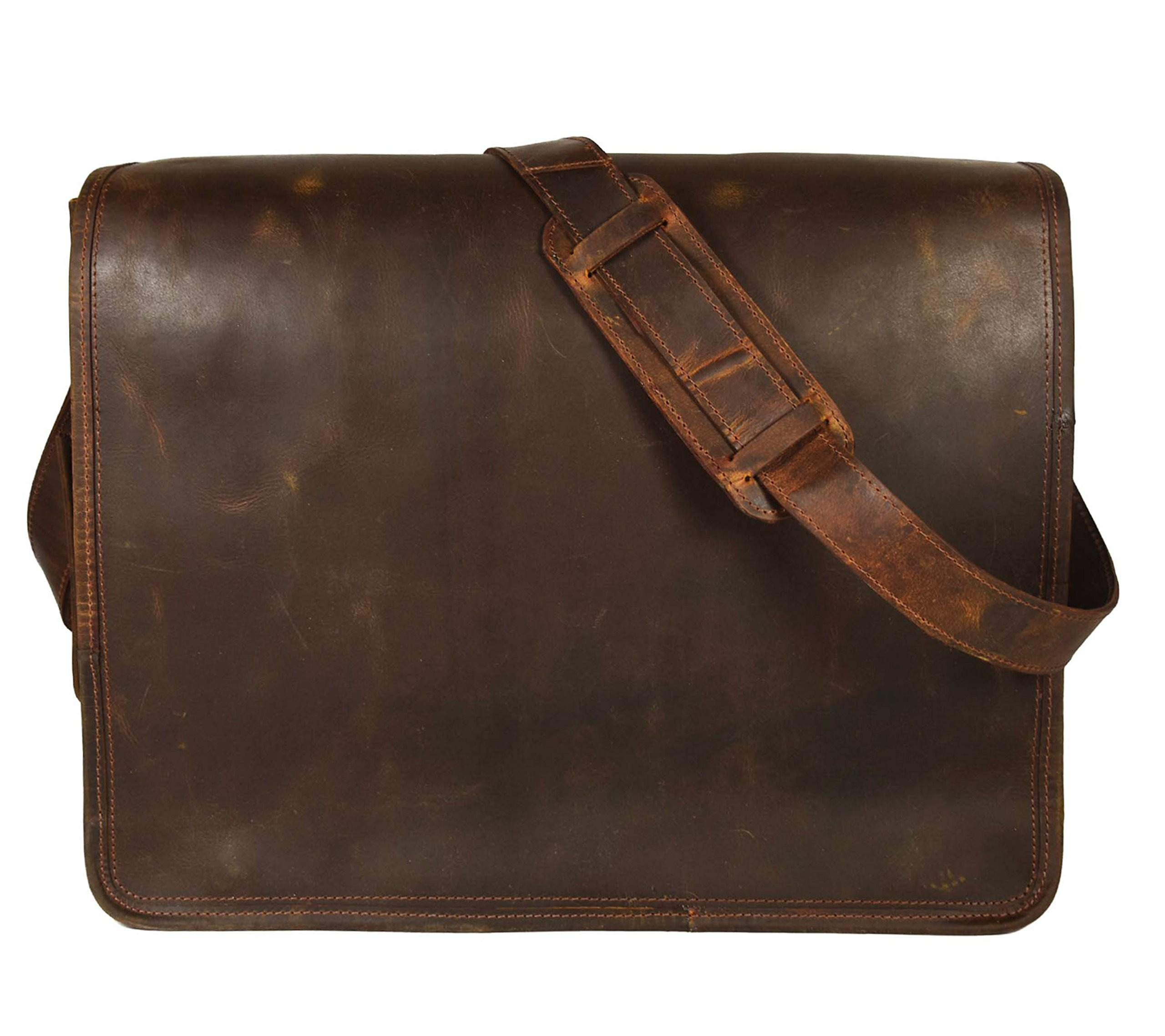 KK's Leather hunter Leather Bags 18'' Inch Leather Bags genuine leather bags Laptop Messenger Bags Vintage Brown Bags full flap bags Briefcase bags everyday bags weekend bags for men and women
