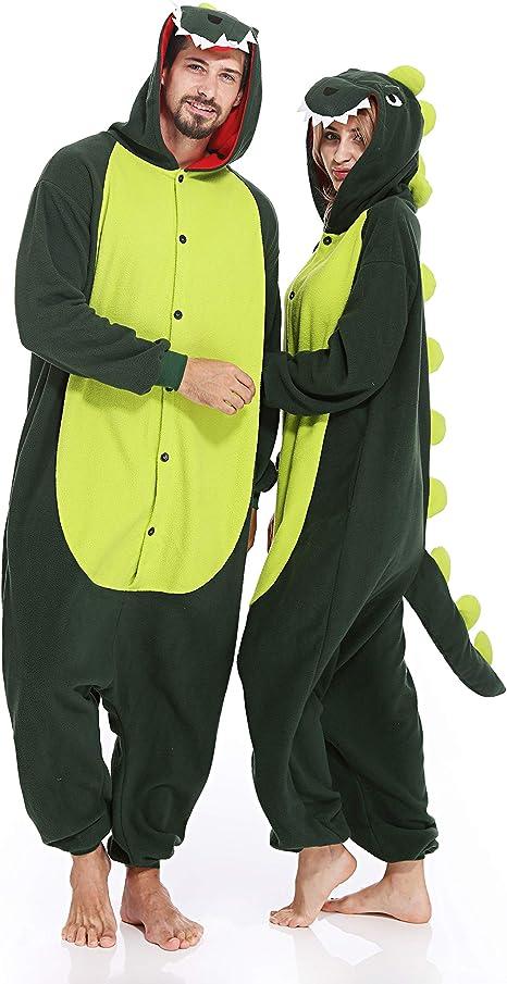 Amazon.com: Pijama de dinosaurio para adultos, una pieza ...