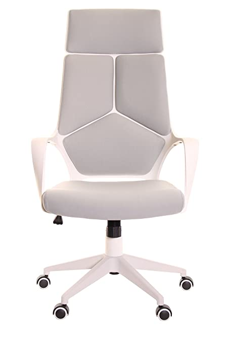 TimeOffice Ergonomic Office Chair With Armrest And Matt White Color Frameu2013 Grey