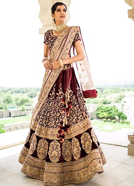 417282d774aca1 Amazon.com: Velvet Bridal Designer Royal Wedding Festive Collection of Lehenga  Choli Ghagra Dupatta Indian Muslim Zari Custom to Measure: Home Improvement
