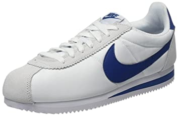 timeless design 9d4c5 5f48b NIKE Men's Classic Cortez Nylon, White/Gym Blue, 6 M US