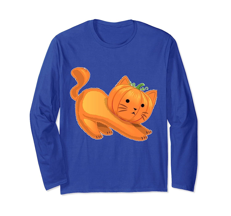 Halloween Cat Pumpkin Jack-O-Lantern Long Sleeve Shirt Women-Rose