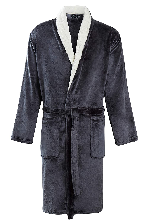 282bd8f8ba STONEBRIDGE Mens Luxury Super Soft Men Dressing Gown Hooded Bathrobe   Amazon.co.uk  Clothing