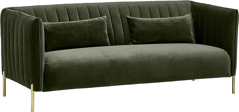 "Rivet Frederick Mid-Century Modern Tufted Velvet Sectional Sofa Couch, 77.5""W, Forest Green"