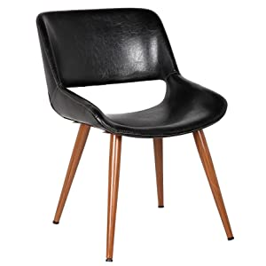 Porthos Home Shane Dining Accent Chair with woodent finish, Single, Black