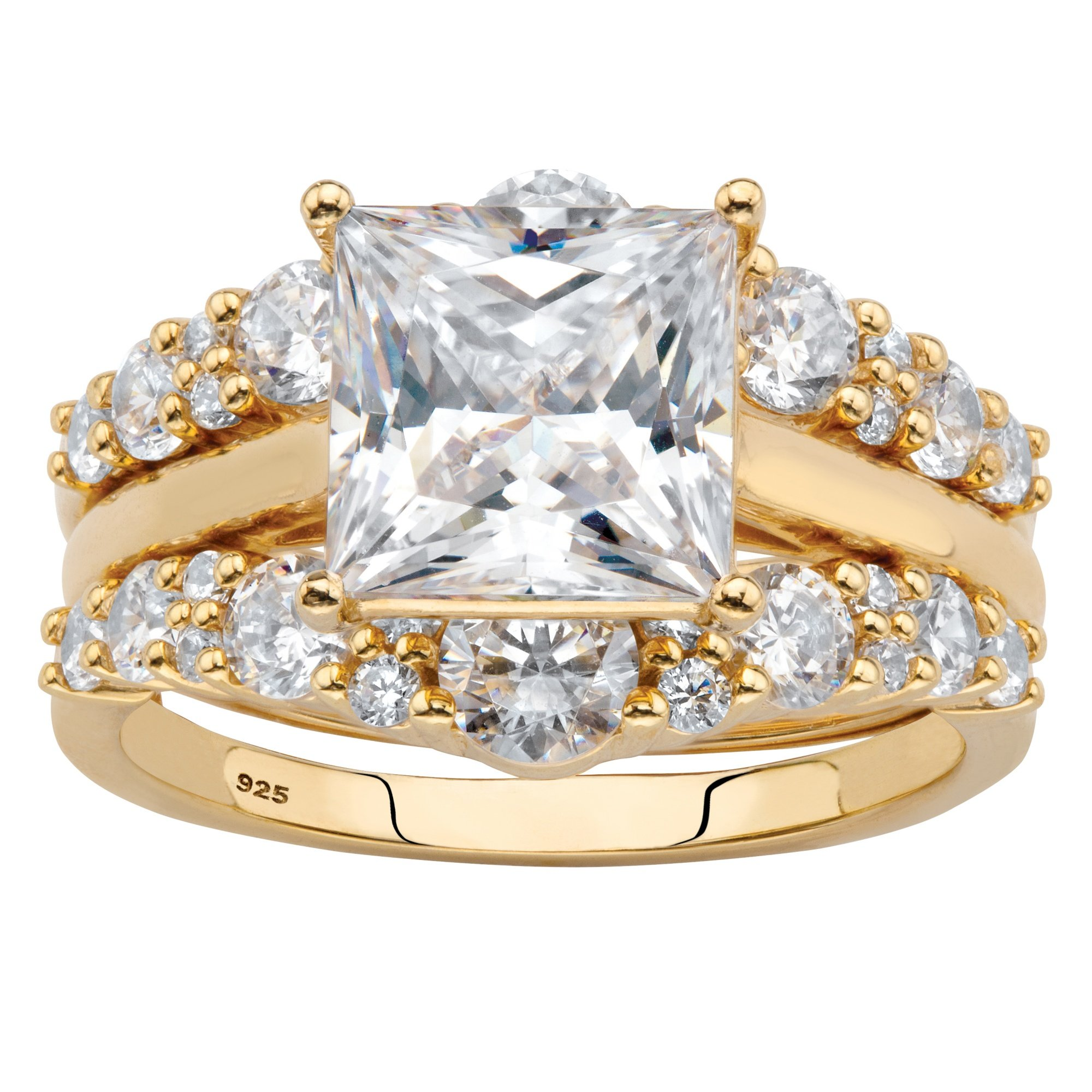 18K Yellow Gold over Sterling Silver Princess Cut Cubic Zirconia Jacket Bridal Ring Set Size 7