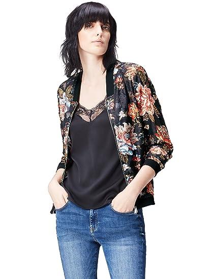 9881dddf8 FIND Women's Floral Print Lace Bomber Jacket