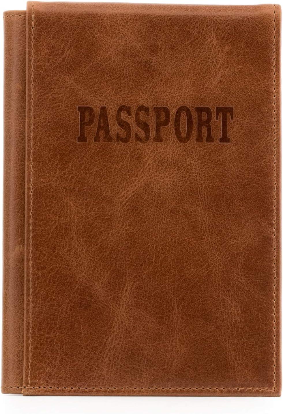 Otto Angelino - Porta Pasaporte de Cuero Real - Bloqueo de RFID, Compartimiento para Billetes de avión + Etiqueta para Equipaje (Marrón Claro)