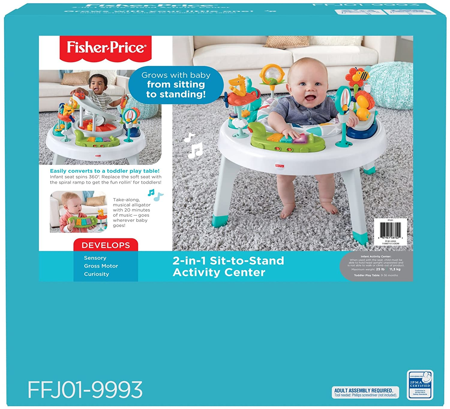 Amazon.com : Fisher-Price 2-in-1 Sit-to-Stand Activity Center, Spin ...