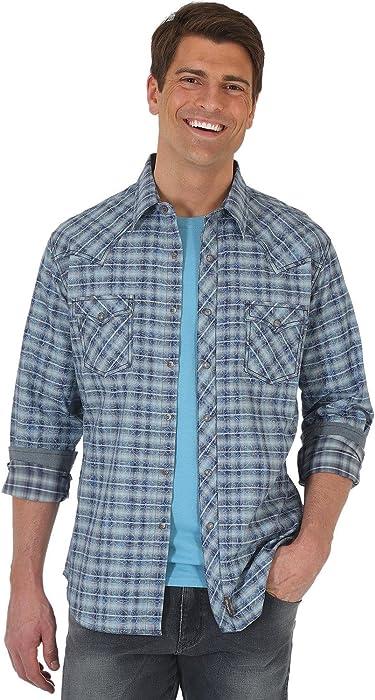 78ad897d Wrangler Men's Long Sleeve Retro Snap Plaid Blue/Grey Small at ...