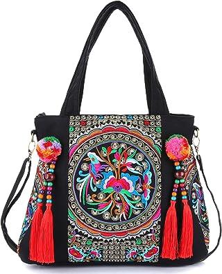 Embroidered Tassels Tote Shoulder Bag Casual Canvas Handbag Cross Body Bag