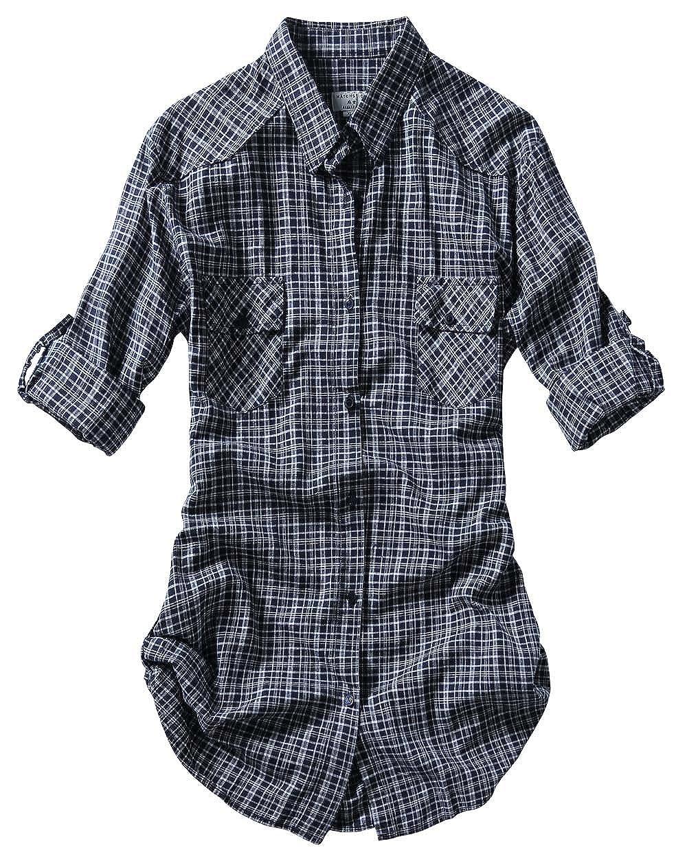 2022 Check 3 Match Women's Long Sleeve Flannel Plaid Shirt