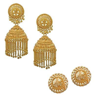 babc17007 Buy Memoir Gold plated Combo of Jhalar Jhumki and Stud earrings Women  Traditional