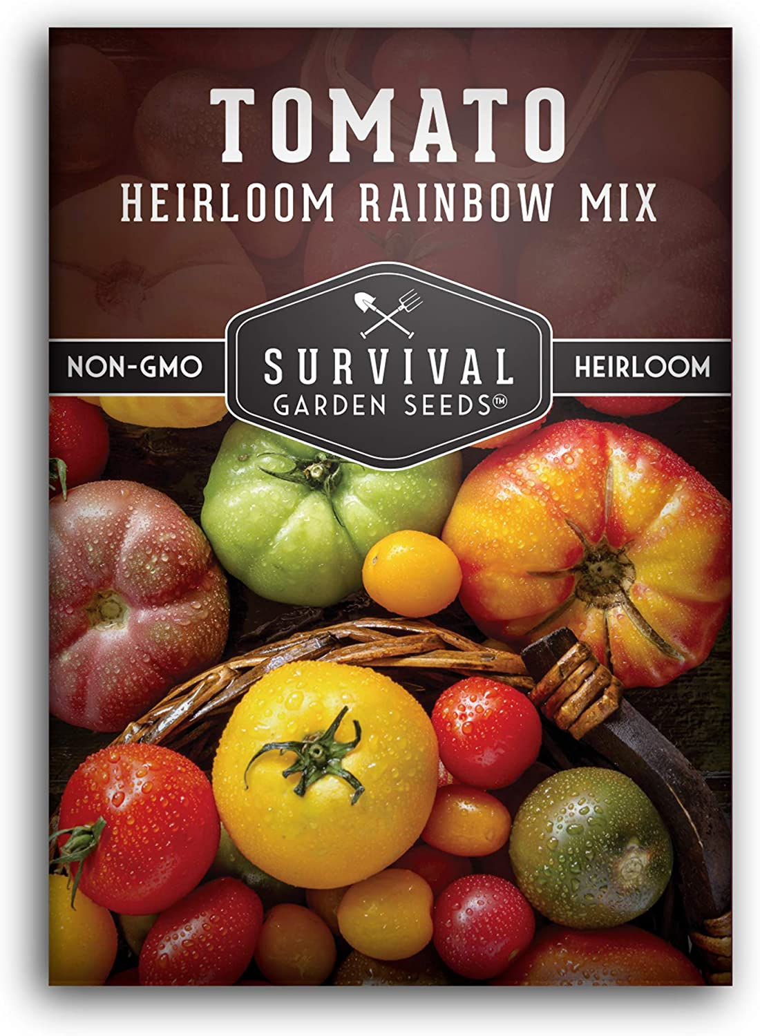 Survival Garden Seeds - Heirloom Rainbow Blend Tomato Seed for Planting - Packet with Instructions to Plant and Grow Your Home Vegetable Garden - Non-GMO Heirloom Variety