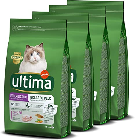 Ultima Pienso Para Gatos Esterilizados Para Prevenir Bolas De Pelo Con Pavo 4 X 1 5 Kg Amazon Es Productos Para Mascotas