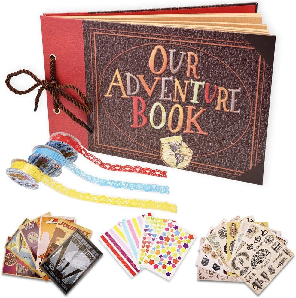 Anniversary Handmade DIY Photo Book Wedding Memory Book Travelling Baby Shower Birthday Guest Book Travel Scrapbook for Christmas Photo Album Scrapbook Family Scrapbook Our Adventure Book