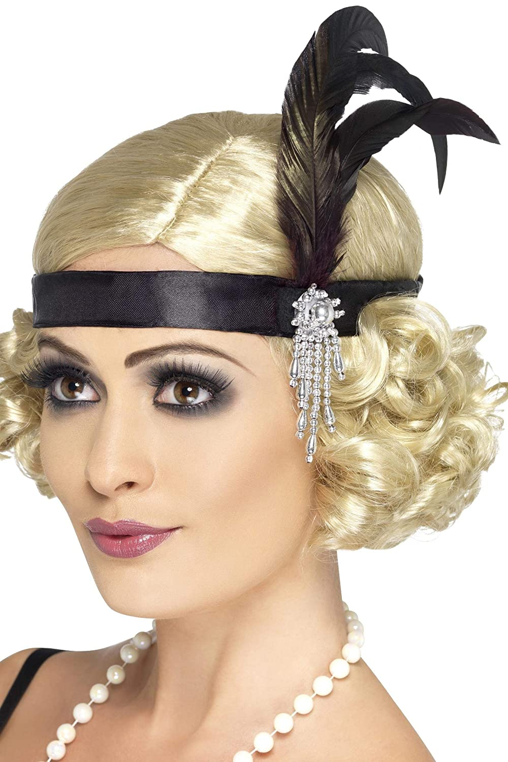20's Charleston Costume Accessory Black Satin Headband One Size RH Smith & Sons LTD 23893 B000WNIZ8O