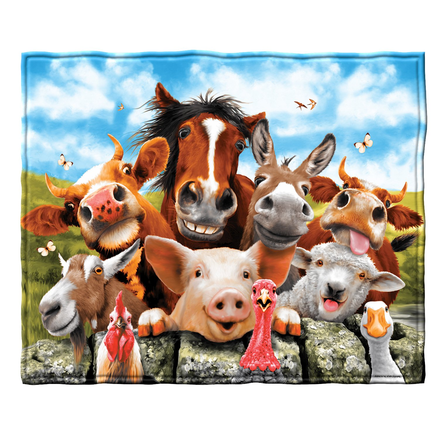 Farm Animals Selfie Fleece Throw Blanket