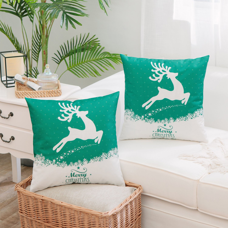 MerryクリスマスシリーズThrow Pillow 2020 新作 Sham鹿クッションカバーケーストナカイスノーフレークスロー枕カバーXmas装飾枕カバー用のソファソファベッドSquare 18